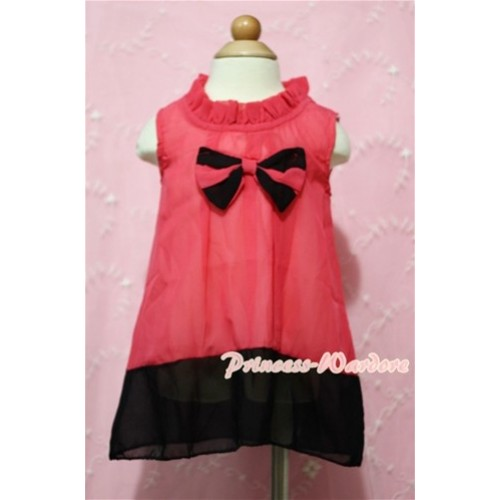 Hot Pink Black Mixed with Bow Party Dress PD003
