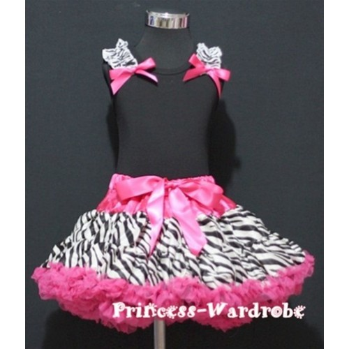 Black Pettitop with Zebra Ruffles&Hot Pink Bow with Hot Pink Zebra Pettiskirt MW06