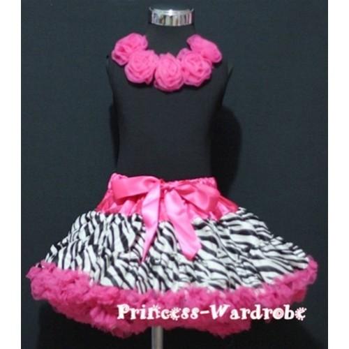 Black Tank Tops with Hot Pink Rosettes & Hot Pink Zebra Print Pettiskirt M182