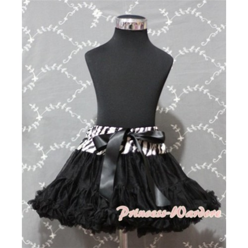 Zebra Waist Black Full Pettiskirt P134
