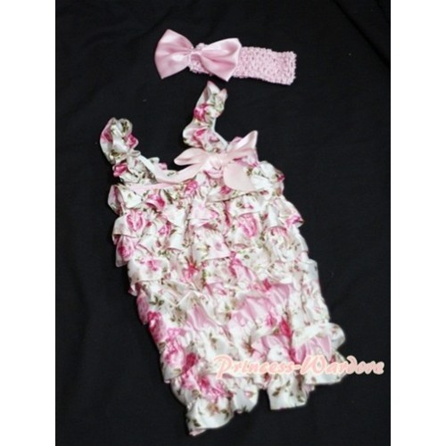 Floral Fusion Chiffon Romper with Light Pink Bow & Straps with Headband Set RH56