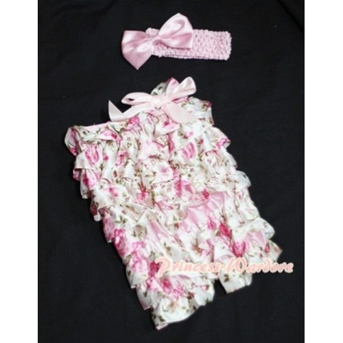 Floral Fusion Chiffon Romper with Light Pink Bow with Headband Set RH57