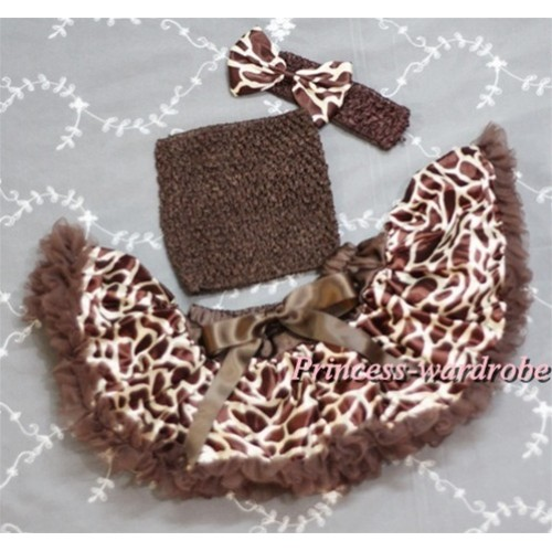 Brown Crochet Tube Top, Brown Giraffe Pettiskirt with Brown Headband Giraffe Bow CT313