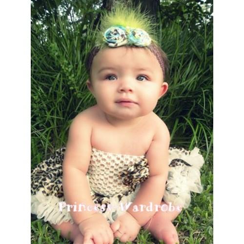 Cream White Crochet Tube Top, Cream White Leopard Baby Pettiskirt CT14