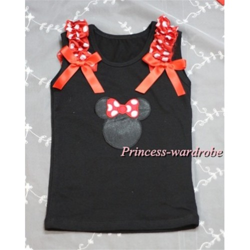 Minnie Print Black Tank Top with Minnie Ruffles and Red Bow T381