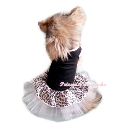 Black Sleeveless Leopard White Gauze Skirt Pet Dress DC008