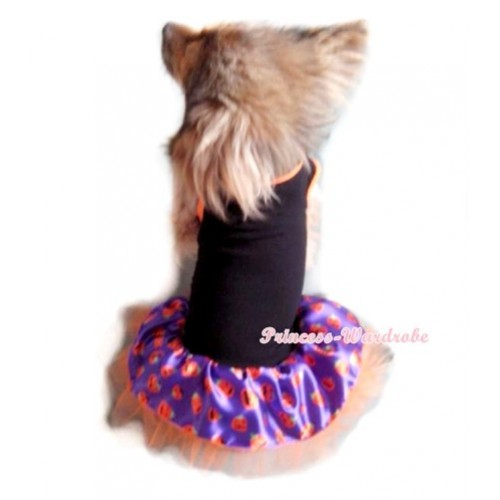 Black Sleeveless Halloween Dark Purple Pumpkin Orange Gauze Skirt Pet Dress DC009
