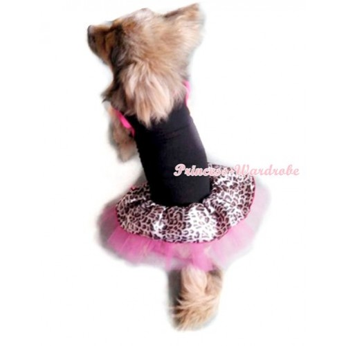 Black Sleeveless Hot Pink Leopard Gauze Skirt Pet Dress DC011