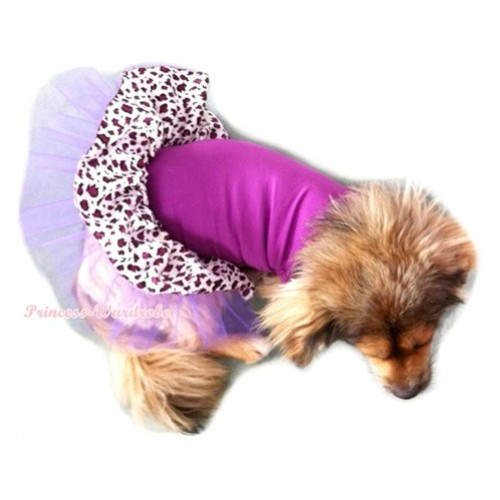 Dark Purple Sleeveless Dark Purple Leopard Gauze Skirt Pet Dress DC015