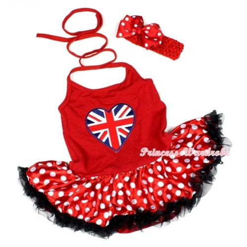 Hot Red Baby Halter Jumpsuit Minnie Polka Dots Pettiskirt With Patriotic British Heart Print With Red Headband Red White Polka Dots Ribbon Bow JS1184