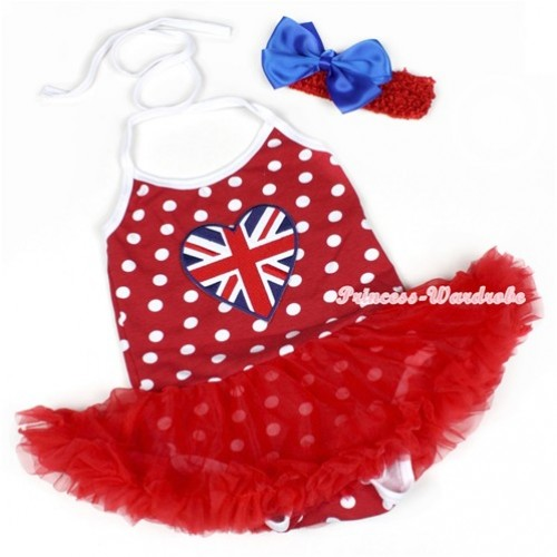 Minnie Polka Dots Baby Halter Jumpsuit Red Pettiskirt With Patriotic British Heart Print With Red Headband Royal Blue Silk Bow JS1200