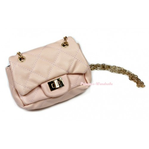 Gold Chain Nude Pink Checked Little Cute Petti Shoulder Bag CB73