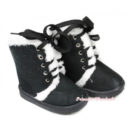 Black White Mid Calf Warm Children Boot SB31