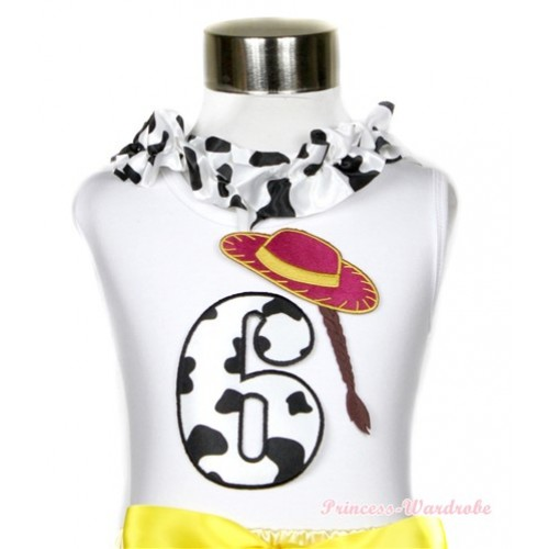 White Tank Tops with 6th Cowgirl Hat Braid Milk Cow Birthday Number Print with Milk Cow Satin Lacing TB402