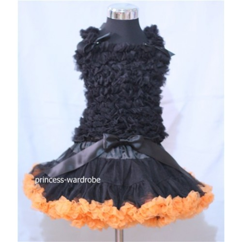Black & Orange Pettiskirt with Matching Black Ruffles Tank Tops MR32