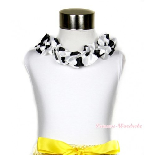 White Tank Top with Black White Milk Cow Satin Lacing TB403