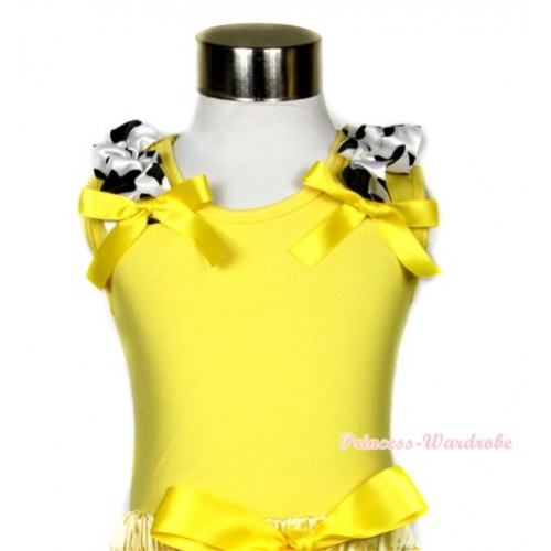 Yellow Tank Top with Milk Cow Ruffles and Yellow Bow TN225