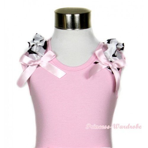 Light Pink Tank Top with Milk Cow Ruffles and Light Pink Bows TP57