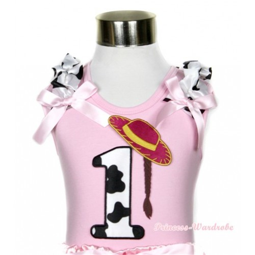 Light Pink Tank Top With 1st Cowgirl Hat Braid Milk Cow Birthday Number Print With Milk Cow Ruffles & Light Pink Bows TP51