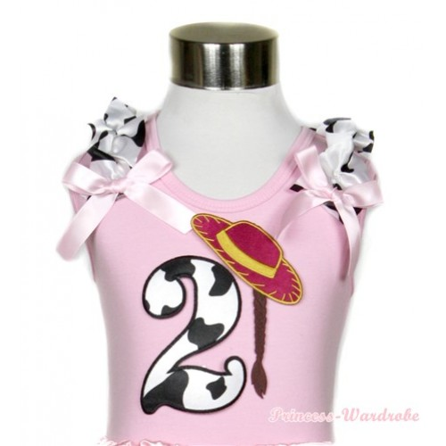 Light Pink Tank Top With 2nd Cowgirl Hat Braid Milk Cow Birthday Number Print With Milk Cow Ruffles & Light Pink Bows TP52