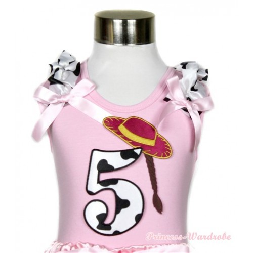 Light Pink Tank Top With 5th Cowgirl Hat Braid Milk Cow Birthday Number Print With Milk Cow Ruffles & Light Pink Bows TP55