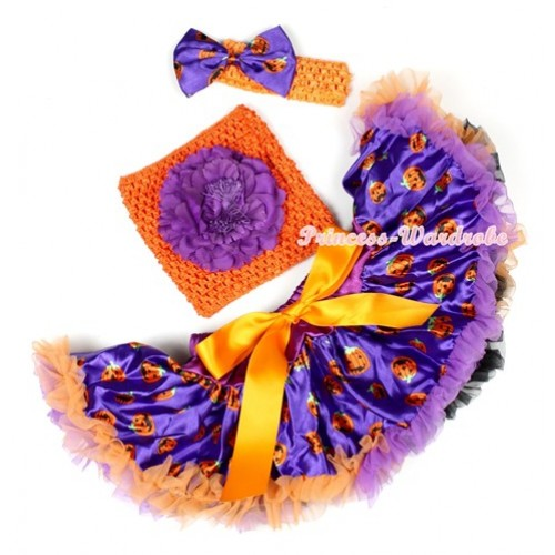 Halloween Dark Purple Orange Black Pumpkin Baby Pettiskirt,Dark Purple Peony Orange Crochet Tube Top,Orange Headband Dark Purple Pumpkin Satin Bow 3PC Set CT617