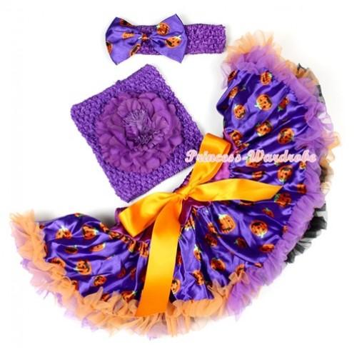 Halloween Dark Purple Orange Black Pumpkin Baby Pettiskirt,Dark Purple Peony Dark Purple Crochet Tube Top,Dark Purple Headband Dark Purple Pumpkin Satin Bow 3PC Set CT618
