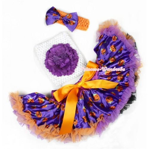 Halloween Dark Purple Orange Black Pumpkin Baby Pettiskirt,Dark Purple Peony White Crochet Tube Top,Orange Headband Dark Purple Pumpkin Satin Bow 3PC Set CT619