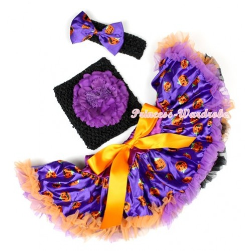 Halloween Dark Purple Orange Black Pumpkin Baby Pettiskirt,Dark Purple Peony Black Crochet Tube Top,Black Headband Dark Purple Pumpkin Satin Bow 3PC Set CT616