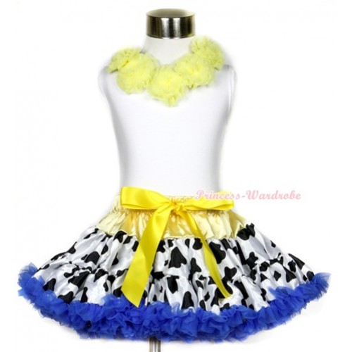 White Tank Top with Yellow Rosettes & Yellow Royal Blue Milk Cow Pettiskirt MG634