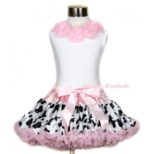 White Tank Top with Light Pink Rosettes & Light Pink Milk Cow Pettiskirt MG635