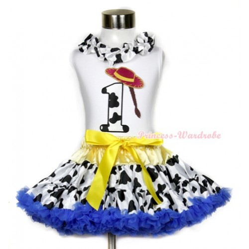 White Tank Top With Milk Cow Satin Lacing & 1st Cowgirl Hat Braid Milk Cow Birthday Number Print With Yellow Royal Blue Milk Cow Pettiskirt MG640