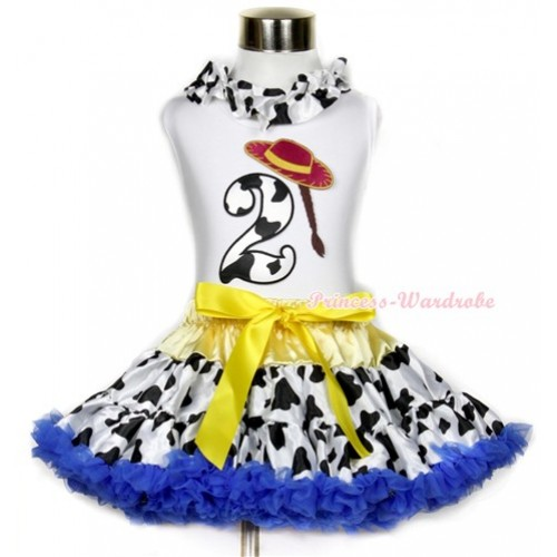 White Tank Top With Milk Cow Satin Lacing & 2nd Cowgirl Hat Braid Milk Cow Birthday Number Print With Yellow Royal Blue Milk Cow Pettiskirt MG641