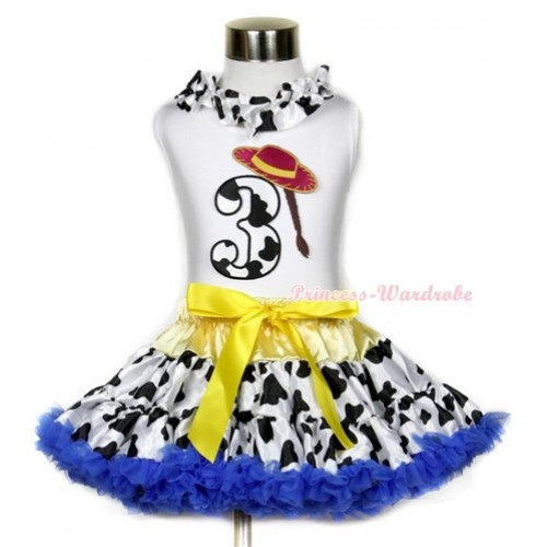 White Tank Top With Milk Cow Satin Lacing & 3rd Cowgirl Hat Braid Milk Cow Birthday Number Print With Yellow Royal Blue Milk Cow Pettiskirt MG642