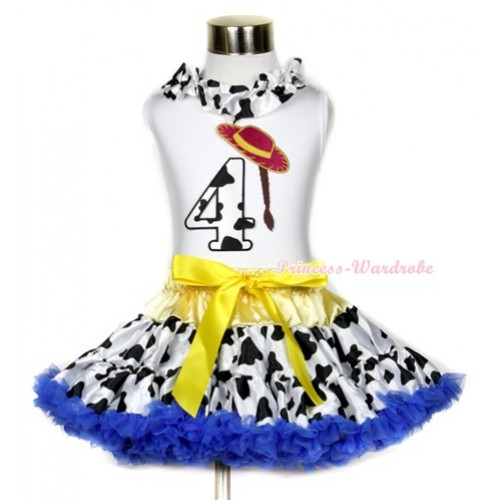 White Tank Top With Milk Cow Satin Lacing & 4th Cowgirl Hat Braid Milk Cow Birthday Number Print With Yellow Royal Blue Milk Cow Pettiskirt MG643
