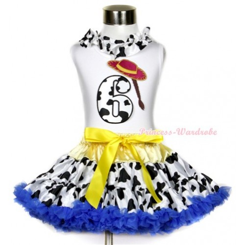 White Tank Top With Milk Cow Satin Lacing & 6th Cowgirl Hat Braid Milk Cow Birthday Number Print With Yellow Royal Blue Milk Cow Pettiskirt MG645
