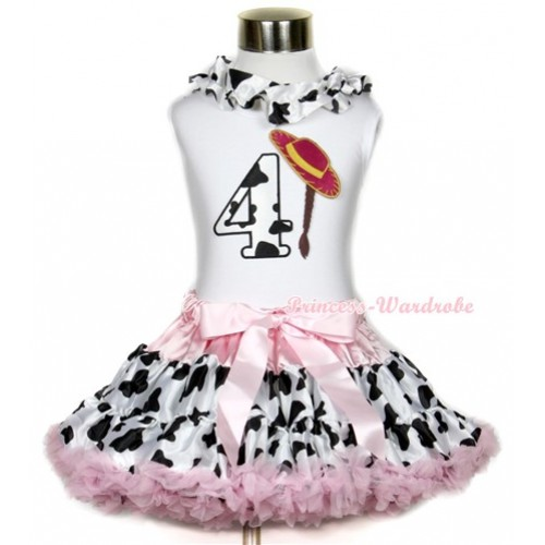 White Tank Top With Milk Cow Satin Lacing & 4th Cowgirl Hat Braid Milk Cow Birthday Number Print With Light Pink Milk Cow Pettiskirt MG649