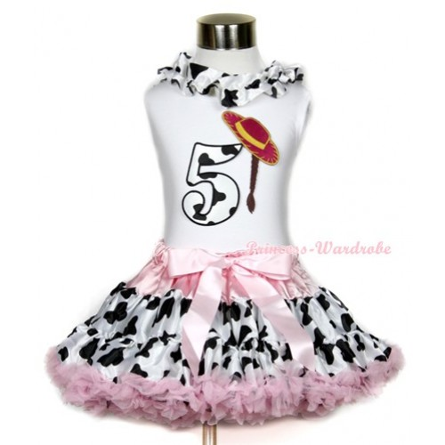 White Tank Top With Milk Cow Satin Lacing & 5th Cowgirl Hat Braid Milk Cow Birthday Number Print With Light Pink Milk Cow Pettiskirt MG650