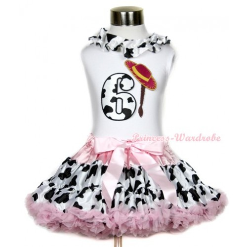 White Tank Top With Milk Cow Satin Lacing & 6th Cowgirl Hat Braid Milk Cow Birthday Number Print With Light Pink Milk Cow Pettiskirt MG651