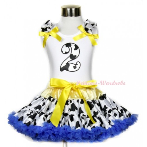 White Tank Top with 2nd Milk Cow Birthday Number Print with Milk Cow Ruffles & Yellow Bow & Yellow Royal Blue Milk Cow Pettiskirt MG653