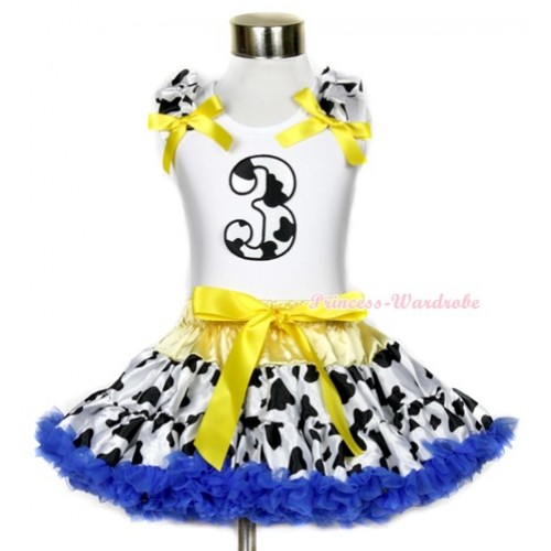 White Tank Top with 3rd Milk Cow Birthday Number Print with Milk Cow Ruffles & Yellow Bow & Yellow Royal Blue Milk Cow Pettiskirt MG654