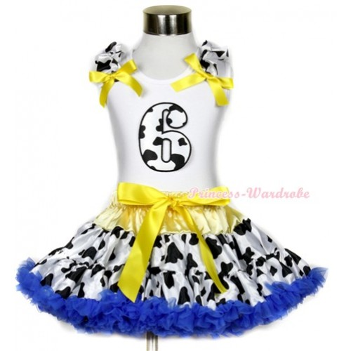 White Tank Top with 6th Milk Cow Birthday Number Print with Milk Cow Ruffles & Yellow Bow & Yellow Royal Blue Milk Cow Pettiskirt MG657