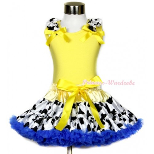 Yellow Tank Top With Milk Cow Ruffles & Yellow Bows With Yellow Royal Blue Milk Cow Pettiskirt M531