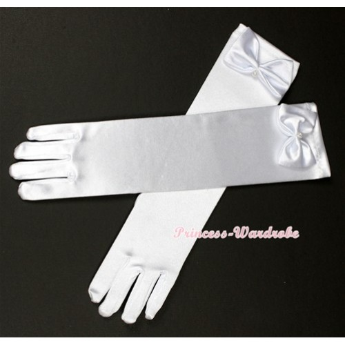 Pure White Elbow Length Princess Costume Long Satin Dress Gloves C135