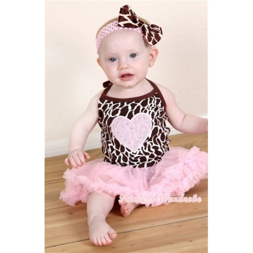 Giraffe Baby Halter Jumpsuit Light Pink Pettiskirt With Light Pink Heart Print With Light Pink Headband Giraffe Satin Bow JS1223