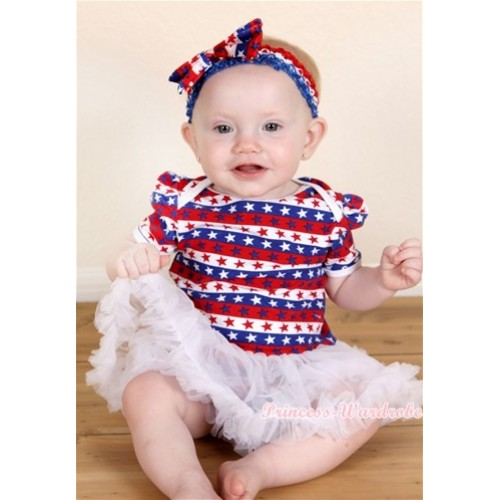 Red White Blue Striped Stars Baby Jumpsuit White Pettiskirt With Red White Royal Blue Headband Red White Blue Striped Stars Satin Bow JS1083
