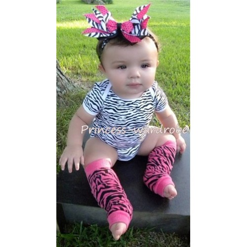 Newborn Baby Hot Pink Zebra Leg Warmers Leggings LG19