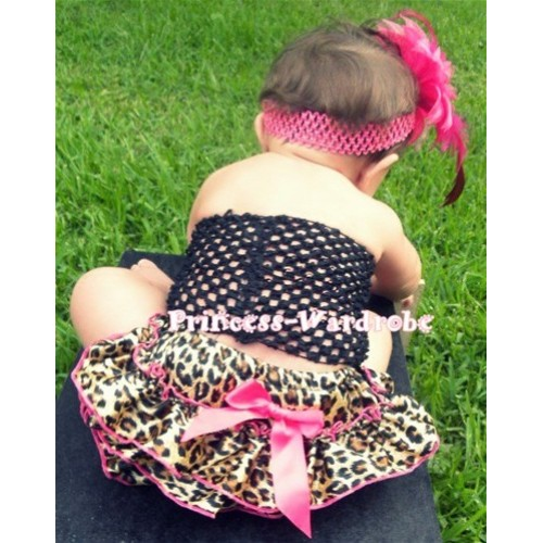 Black Crochet Tube Top, Hot Pink Leopard Bloomer CT25