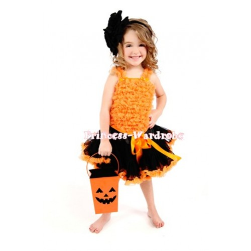 Black Orange Pettiskirt Matching Orange Ruffles Tank Top MR92