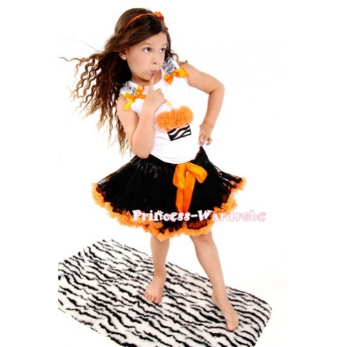 Black Orange Print Pettiskirt With Orange Rosettes Zebra Birthday Cake& Zebra Ruffles& Orange Bow White Tank Top MD07